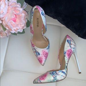 JustFab Monika Floral D'orsay Heels